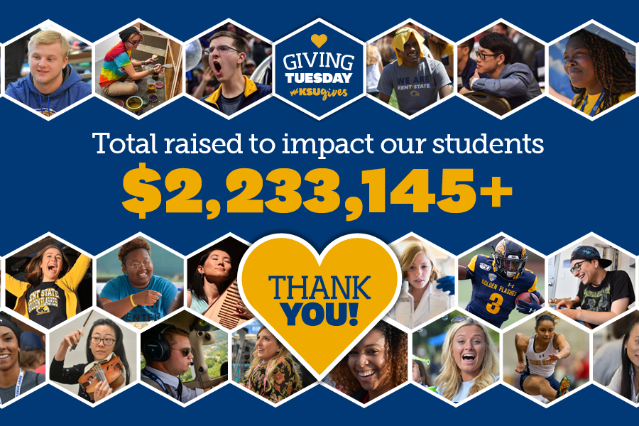 Kent State's Giving Tuesday 2020 raised more than $2.2 million to support students as they endeavor to earn their degrees.