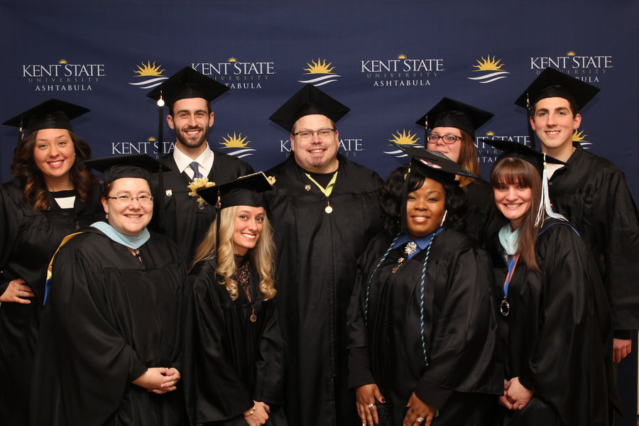 Kent State Ashtabula students gather prior to the Fall 2016 Graduation ceremony
