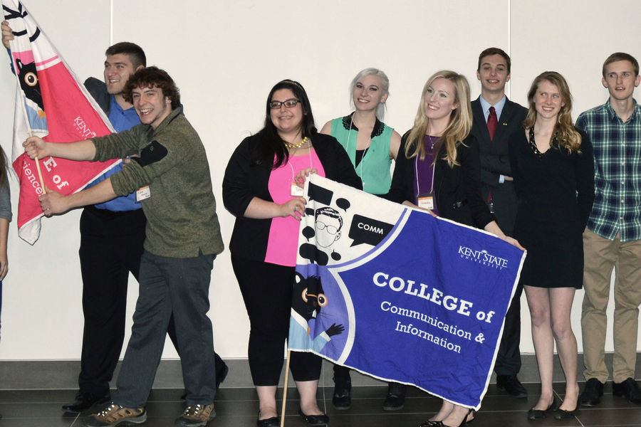 Finalists pose with their College flags at the 2016 LaunchNET Idea Olympics