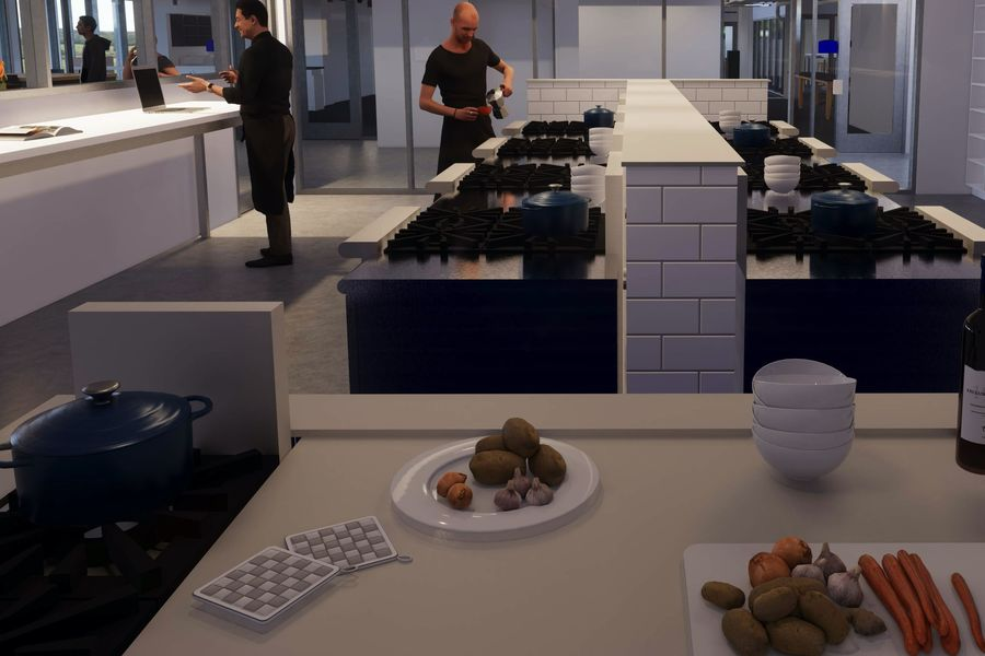 Computer-generated sketch of chefs working in Innovation Teaching Kitchen