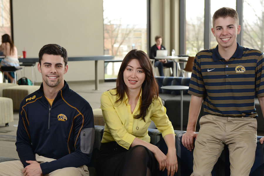 Kent State students Kyle Snyder, Nilufar Nurinova and Vincent Shannon have gained valuable experiences through internships and co-ops. They are pictured in the new Center for Undergraduate Excellence.