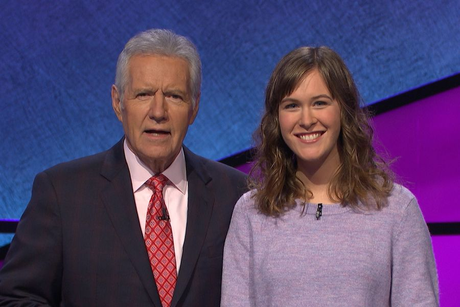 """Jeopardy!"" host Alex Trebek poses for a photo with Kent State University alumna Carrie Blazina."