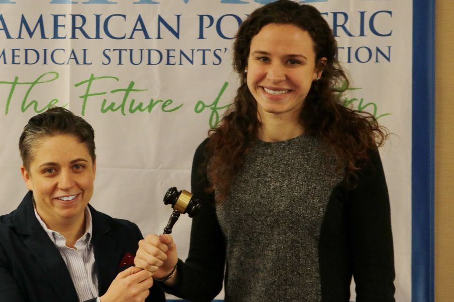 Kent State University College of Podiatric Medicine student Kristen Brett, right, is elected president of APMSA.