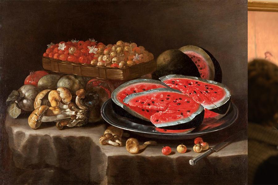 A painting of watermelon and other fruits on the left, a picture of Dr. Shana Klein at a museum on the right