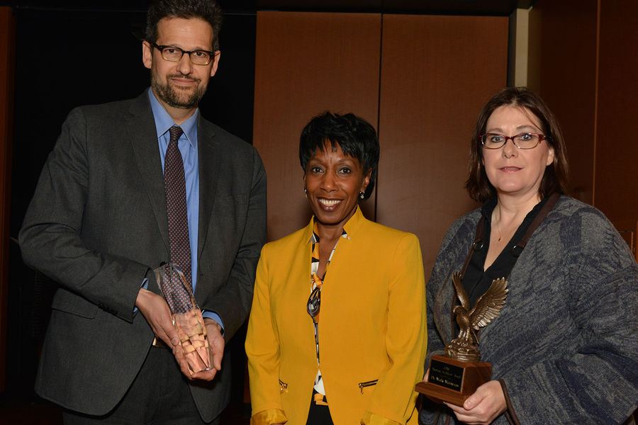 Alfreda Brown (center), Kent State's vice president for diversity, equity and inclusion, poses with award winners David Hassler (left), director of the Wick Poetry Center, and Molly Merryman (right), associate professor of sociology and founding director.