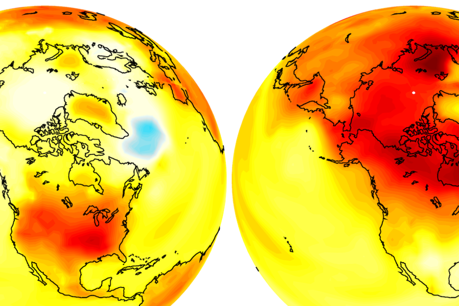 An image of the globe over North America, showing increased warm weather in a yellow-to-red scale