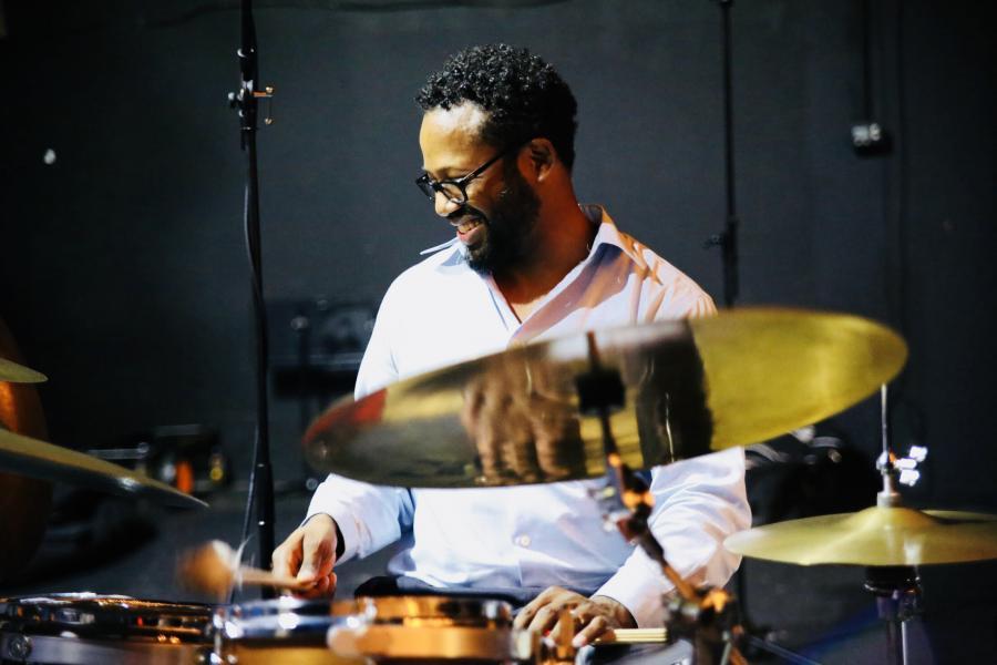 Mark Lomax II playing on drumkit
