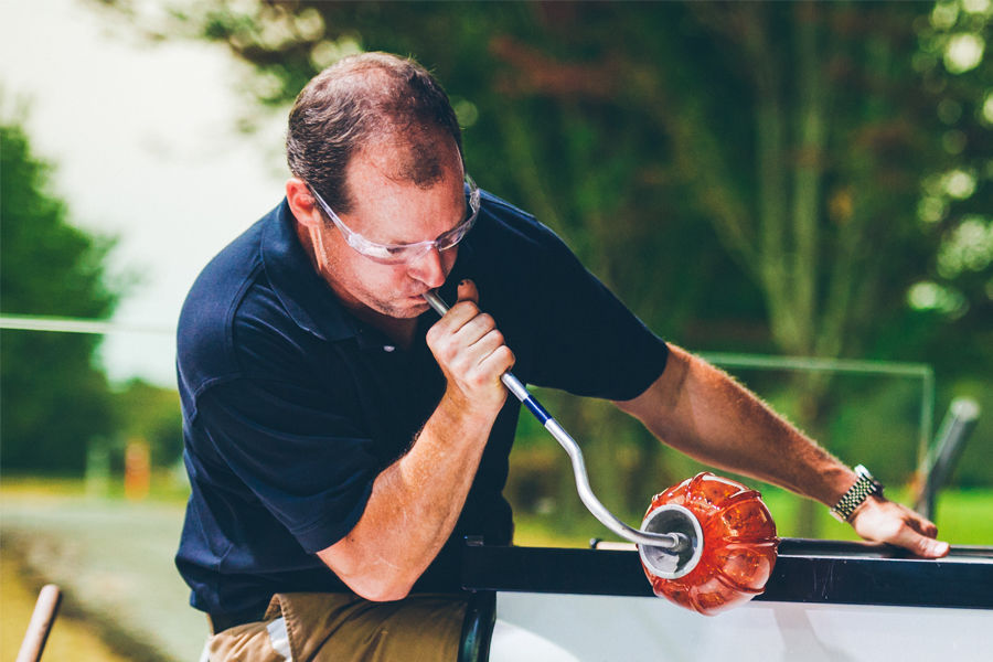 Alumnus Eric Meek Blowing Glass