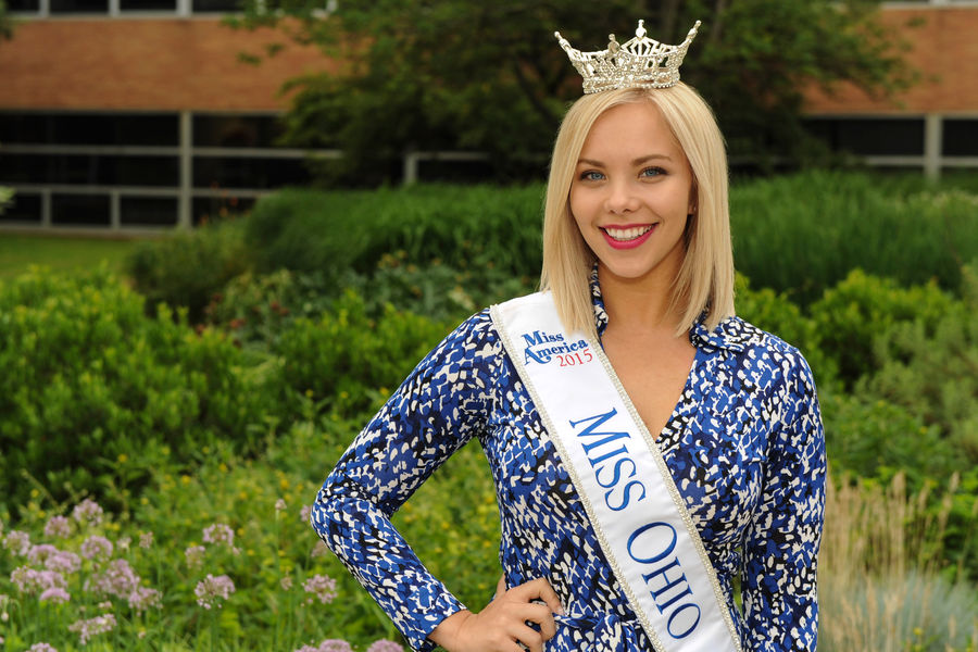 Sarah Hider, a Kent State graduate student and the reigning Miss Ohio, poses outside of the Schwartz Center on the Kent Campus.