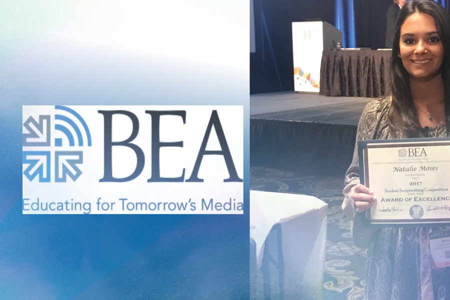 School of Communication Studies graduate student Natalie Moses recently earned the National Award of Excellence for her feature-length movie script at the annual Broadcast Education Association and National Association of Broadcasters conference.