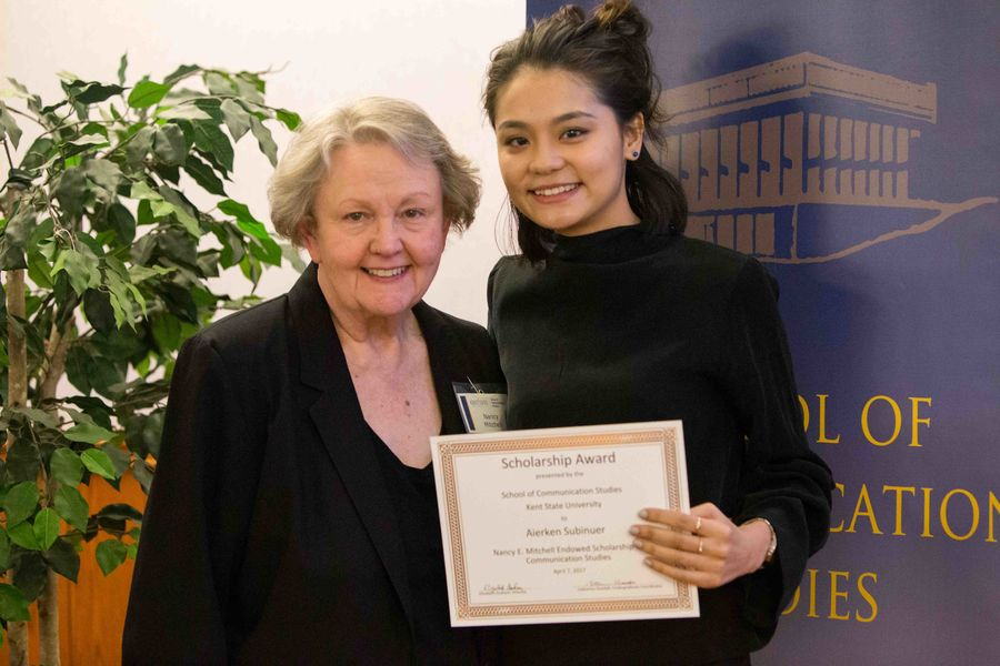 Donor Nancy Mitchell stands with scholarship honoree Subinuer Aierken at the 2017 Scholarship & Awards Program.
