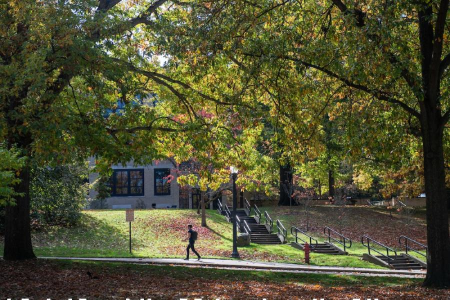 A student walks on a sidewalk among the changing tress on front campus at Kent State.