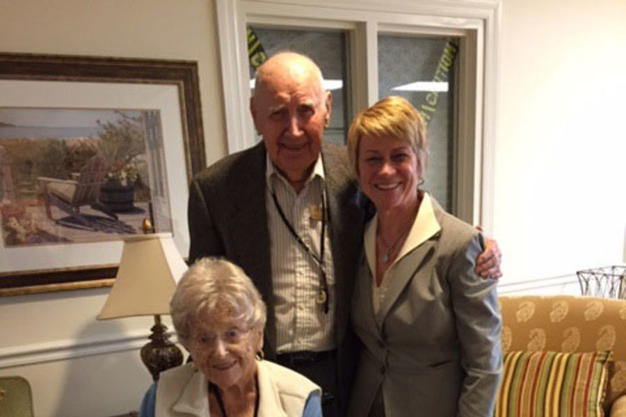 Kent State University President Beverly Warren (right) stands with Joseph and Frances Stevens, who established the Stevens Family Scholarship for Kent State's College of Business Administration.