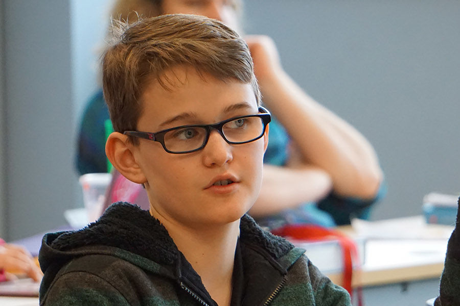 Twelve-year-old Jameson Payne attends a class at Kent State University's Regional Academic Center in Twinsburg.