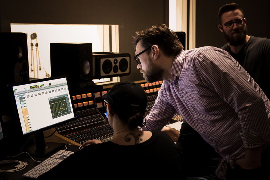 """Stark and Kent Campus students collaborate on the final sound for """"Fly By Night,"""" a feature film produced by Kent State University Independent Films."""