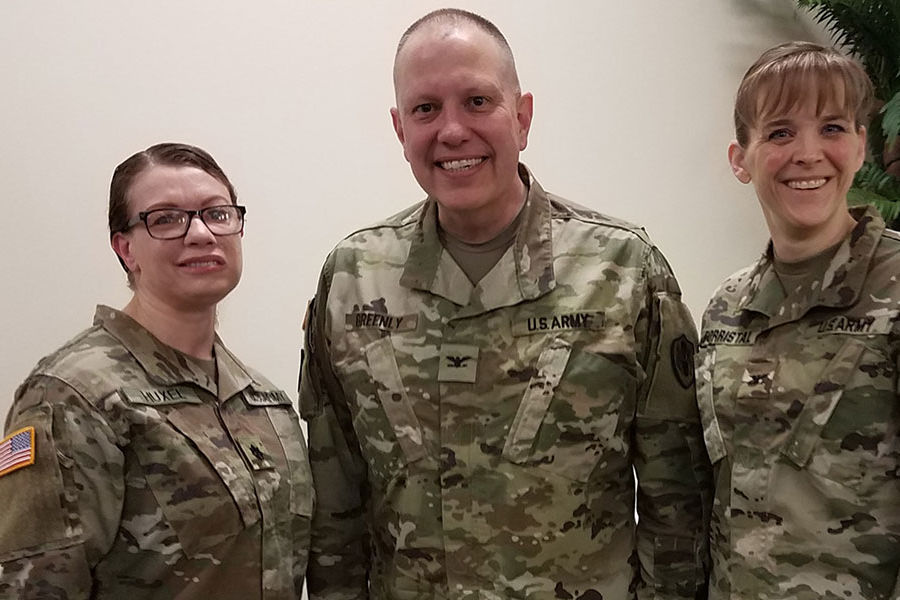 (From left) Lieutenant Colonel Jennifer Huxel, BSN '98; Colonel Michael W. Greenly, MS, BSN '92, RN-BC, PMP, CHIMS; and Colonel Amanda Forristal, BSN '93, recently reconnected at the Army Nurse Corps annual leadership training in San Antonio, TX.