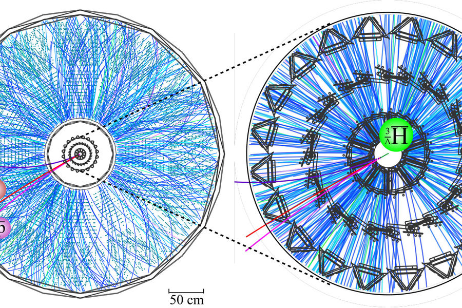 Inner vertex components of the STAR detector at the Relativistic Heavy Ion Collider (righthand view) allow scientists to trace tracks from triplets of decay particles picked up in the detector