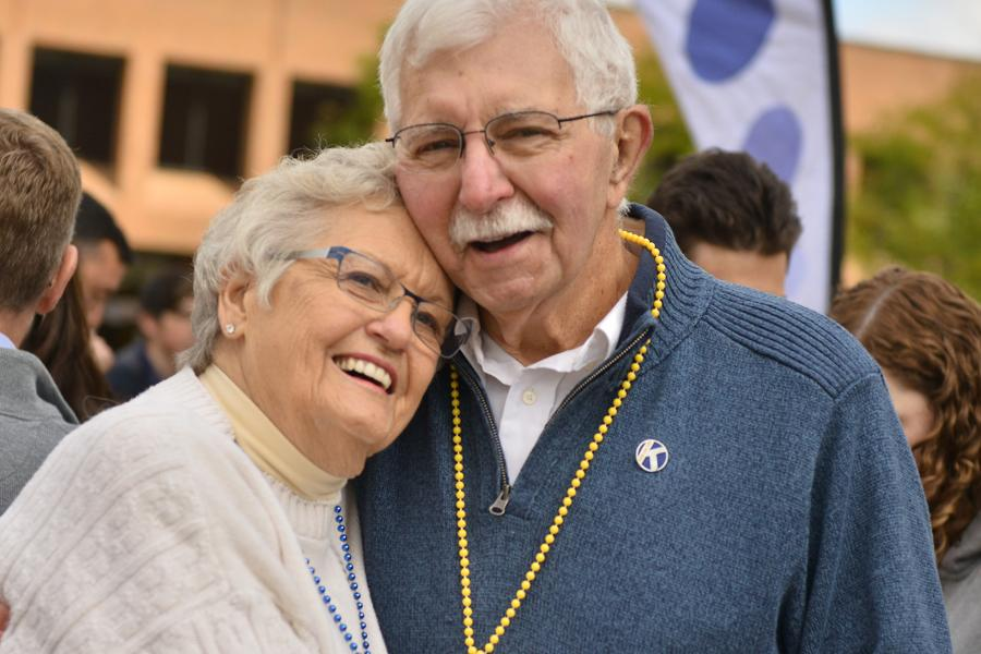A man and a women on Kent State's Risman Plaza