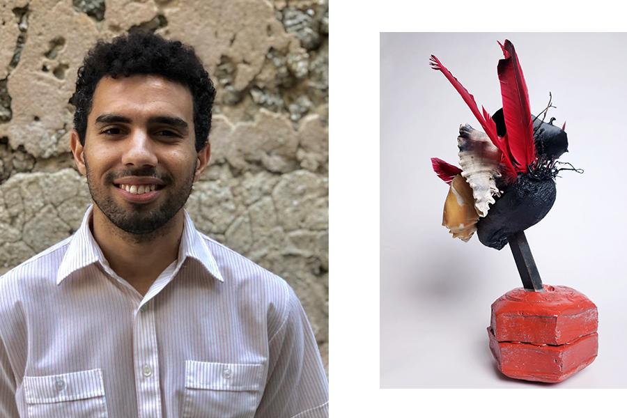 Simon Tatum and two images of his sculptures