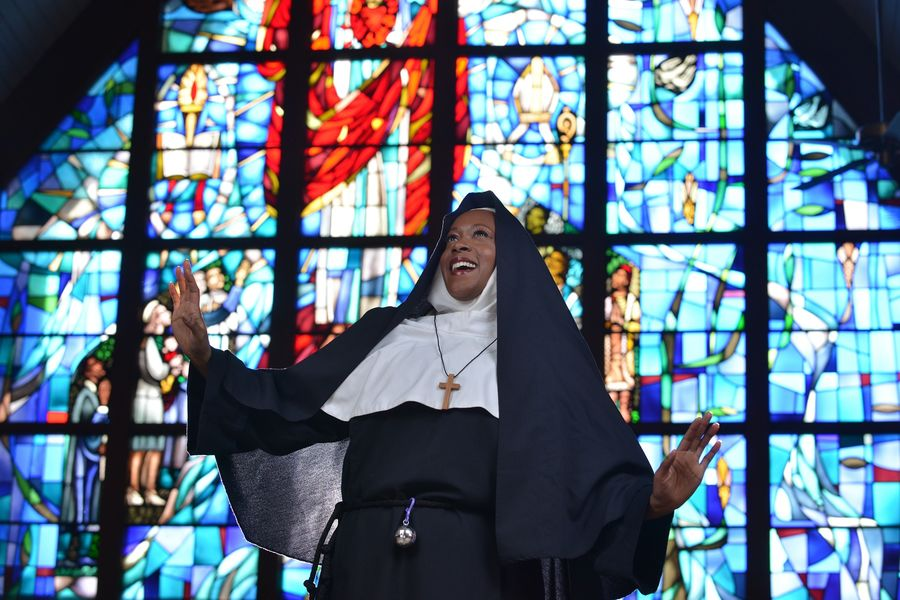 """When singer Deloris Van Cartier (Colleen Longshaw) witnesses a murder, she ends up in the last place she imagined: a convent. Porthouse Theatre open its 48th season with the regional premiere of """"Sister Act."""""""
