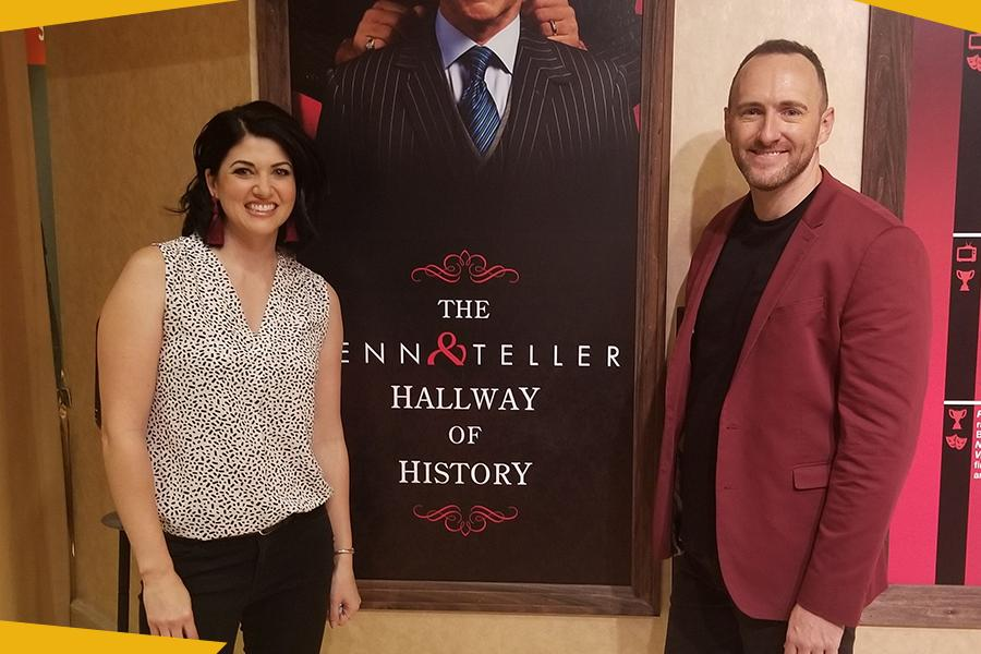 "Alumna Stacy Alan and Husband Jason on the Set of CW's ""Penn & Teller: Fool Us"""