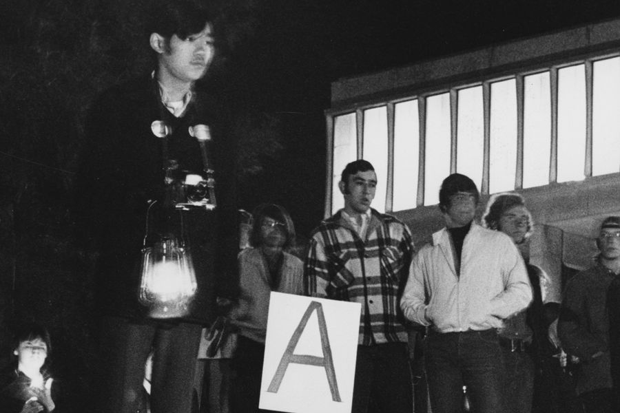 Students Participate in a Candlelight Vigil During the First May 4 Commemoration