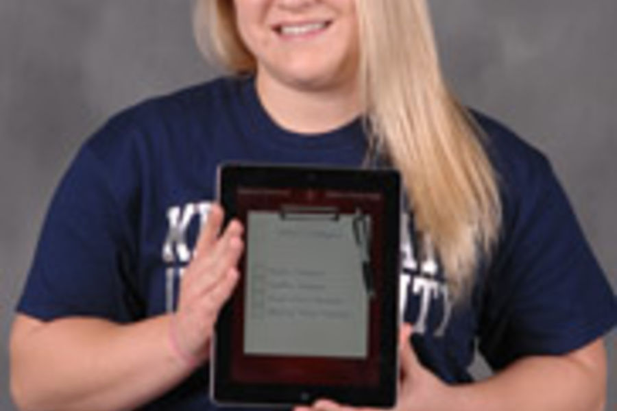 Photo of Tana Henley with her app on an iPad