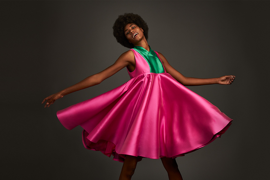 A model wears a design by a School of Fashion student in a New York photoshoot.