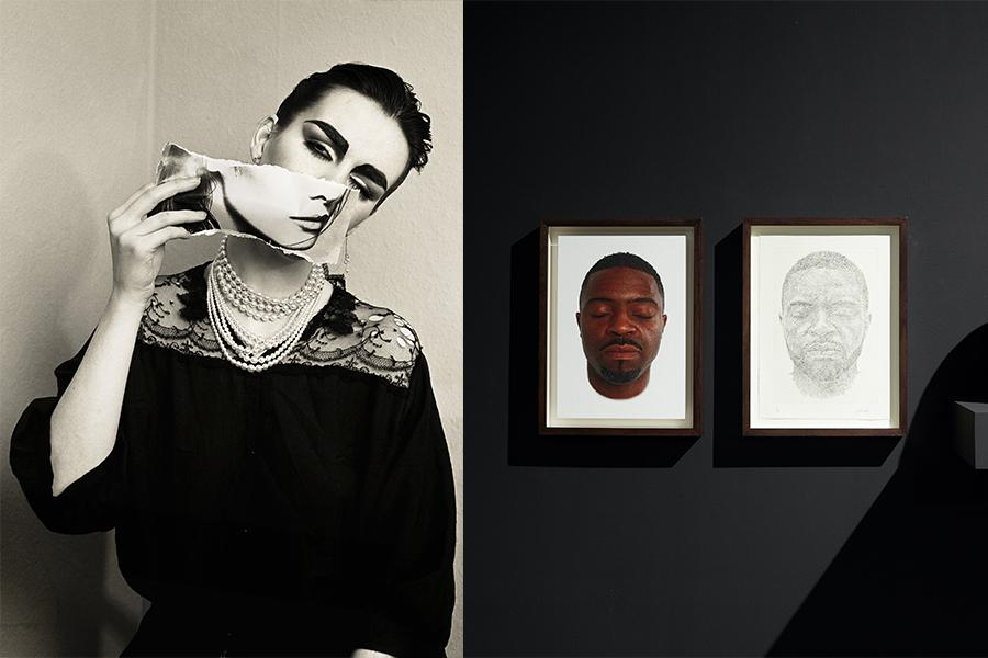 Virtual Fall 2020 artist and scholar talks. Three photos: image of a woman, sculpture and prints of a man