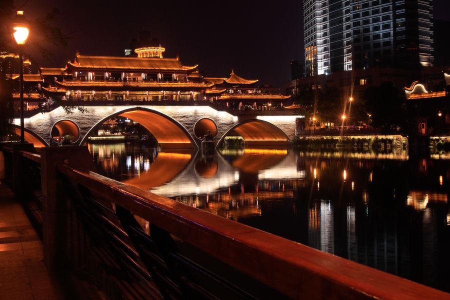 Nighttime View in downtown Chengdu, China