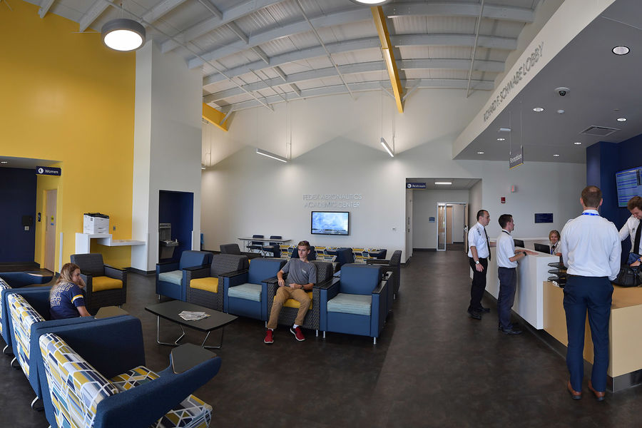 Kent State students have classes in the new FedEx Aeronautics Academic Center.