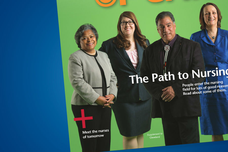 Cover of the June 2016 edition of Faces of Care in Cleveland Magazine, featuring Dean Barbara Broome