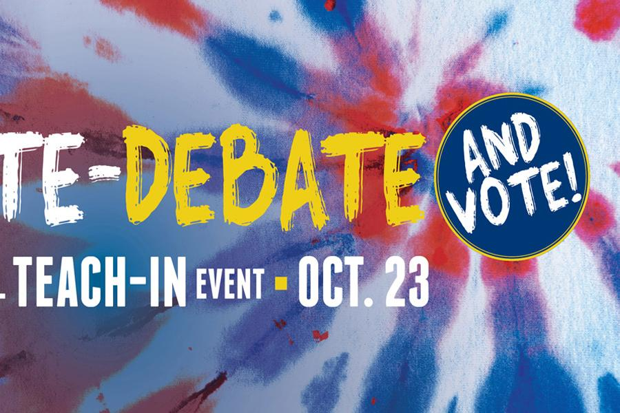 """""""Don't Hate – Debate (And Vote)!"""" Teach In Flyer"""