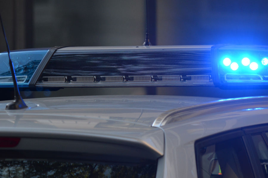 Vehicle Blue Emergency Light Turned on