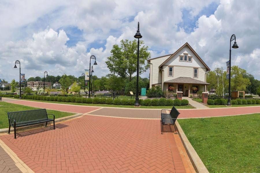 Panoramic view of the Lefton Esplanade and the Wick Poetry Center.