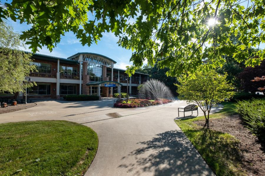 A sunny day illuminates Eastway Complex on Kent Campus at Kent State University