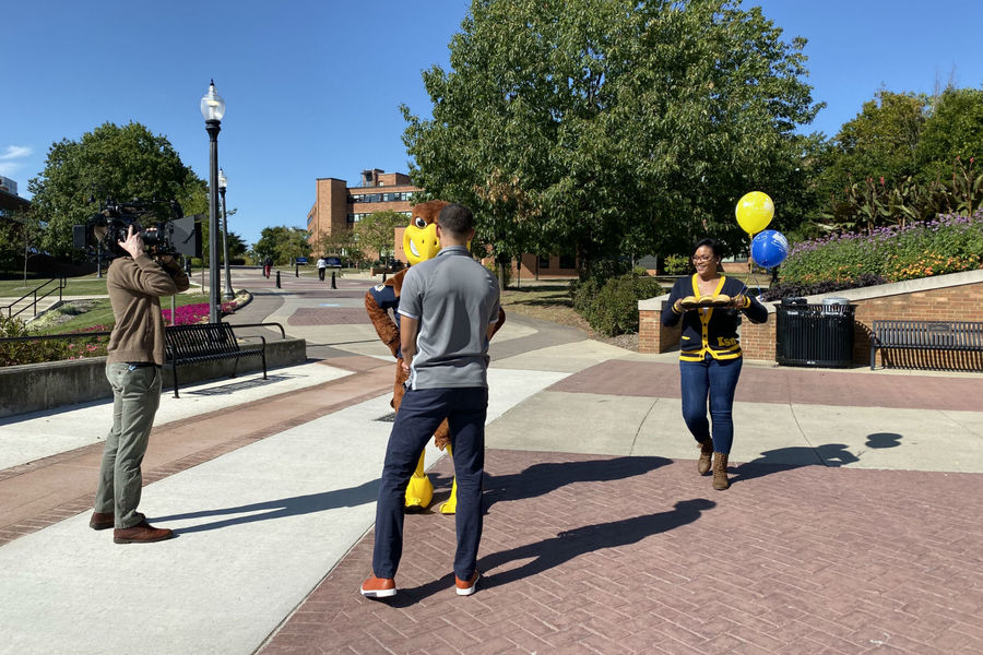 Kent State crew films a video for social media surprising mascot Flash for his 34th birthday.