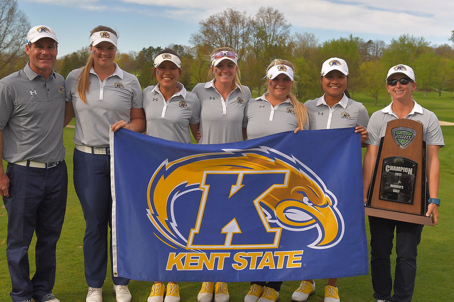The Kent State women's golf team smiles after winning its 19th straight MAC Women's Golf Championship.