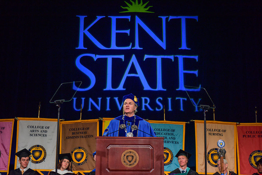 Kent State President Todd Diacon gives his inaugural address in the Memorial Athletic and Convocation Center.