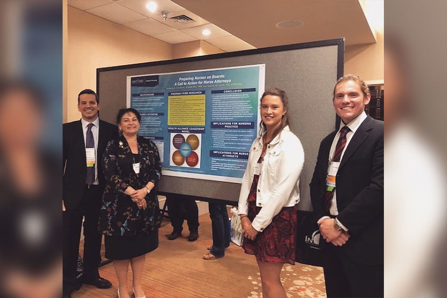 Jason Fisher (left), lecturer Kim Cleveland, JD, MSN, RN, C-MBC (center left), Sarah Kearney, M. Ed & Thomas Watral presented their health policy & health law research at The American Association of Nurse Attorneys (TAANA) 2018 conference.