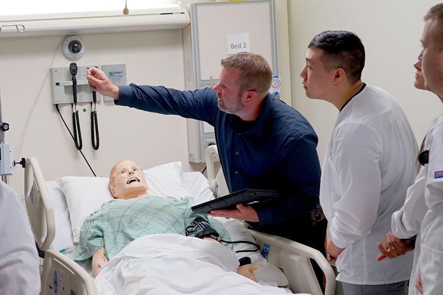 Jeremy Jarzembak explains a simulation mannequin