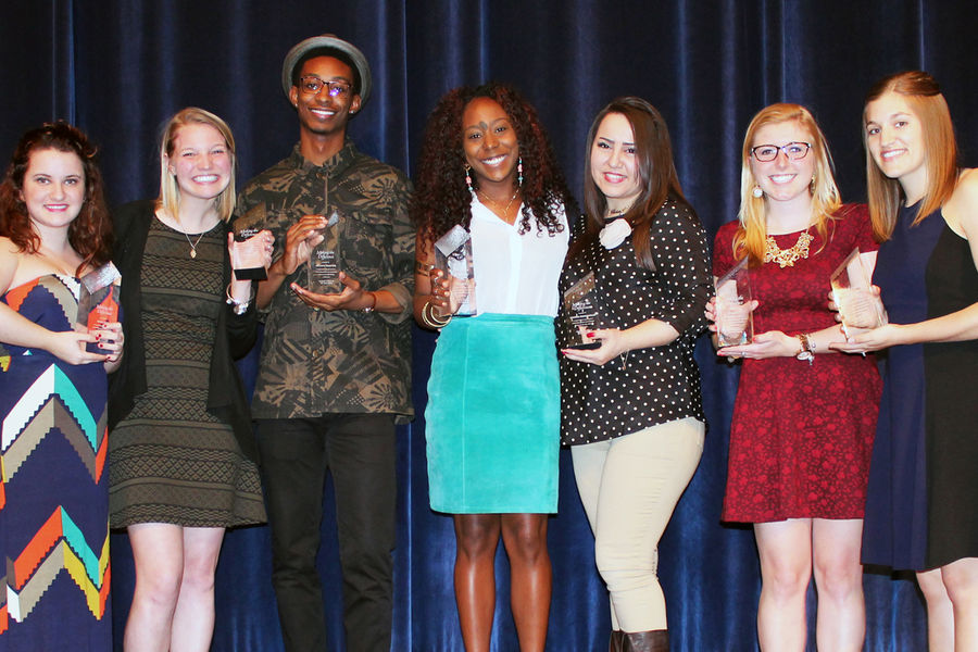 Recipients of the 2015 Student Leader of the Year award are recognized for outstanding leadership of their organization. (Photo credit: Carrie Circosta, Alumni Relations)