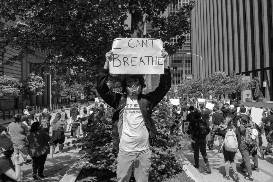 Protesters in Cleveland, Ohio, following the death of George Floyd in Minneapolis, Minnesota. (Photo courtesy of Sylvia Lorson)