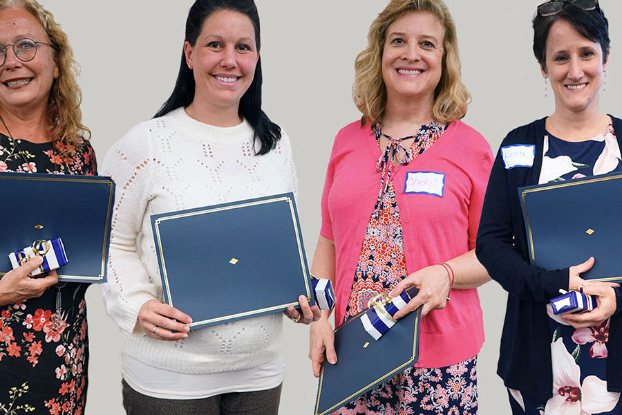 (From left) Lorene Martin, Katie Bowen, Cheryl Brady, and Krista Hawkins were recognized for helping to make the university an accommodating and welcoming place for students with disabilities.