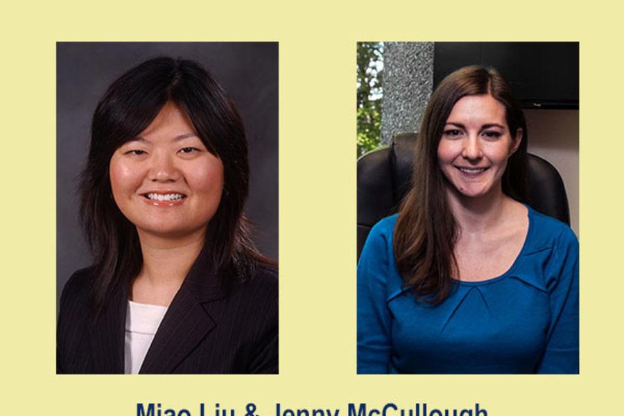 image of award recipients Miao Liu and Jenny McCullough