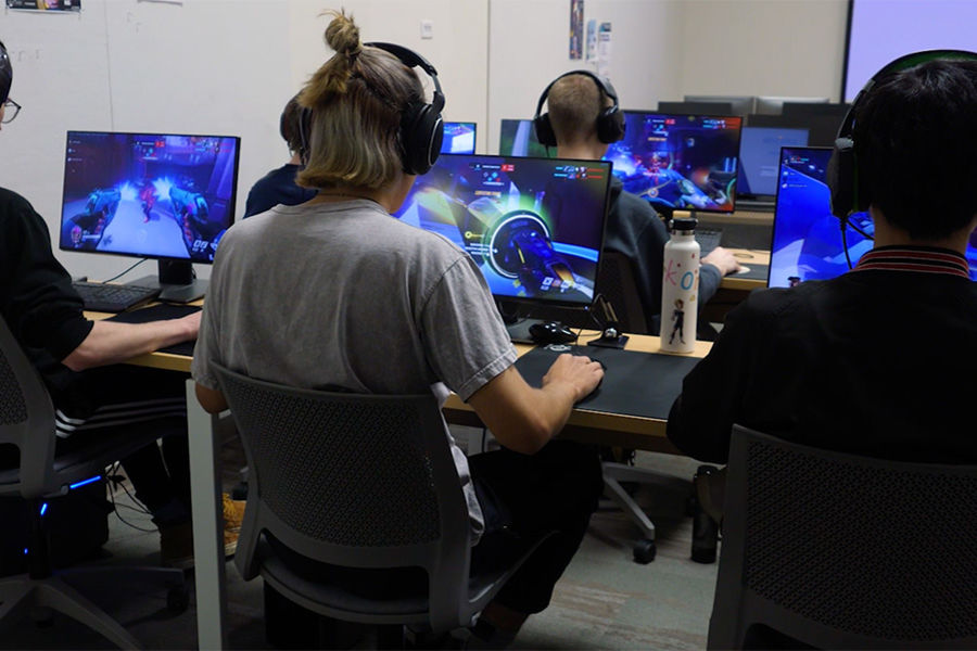 Kent State University students practice their egaming skills prior to Kent State's First Esports Tournament on May 5, 2018.