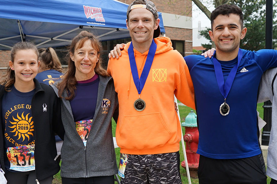 Congratulations to the 2019 5K winners. From left: Jessica Wilk, Madeline Shanholtzer, and Kelly Albertson led the women. The top three male finishers were Tim Meyers, Jad Itawi, and Noah Hersey.