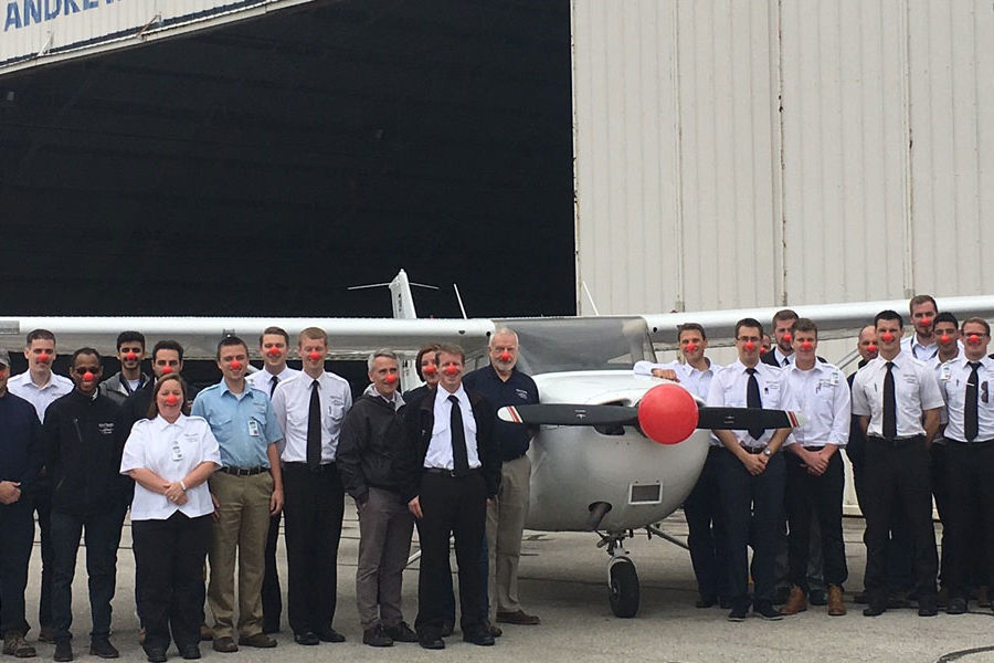 Kent State Aeronautics takes part in Red Nose Day.