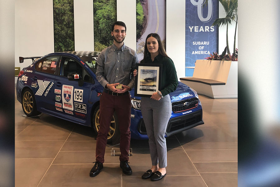 Kent State students Noah Lewchenko and Ashley Heilman presented an integrated marketing campaign at Subaru