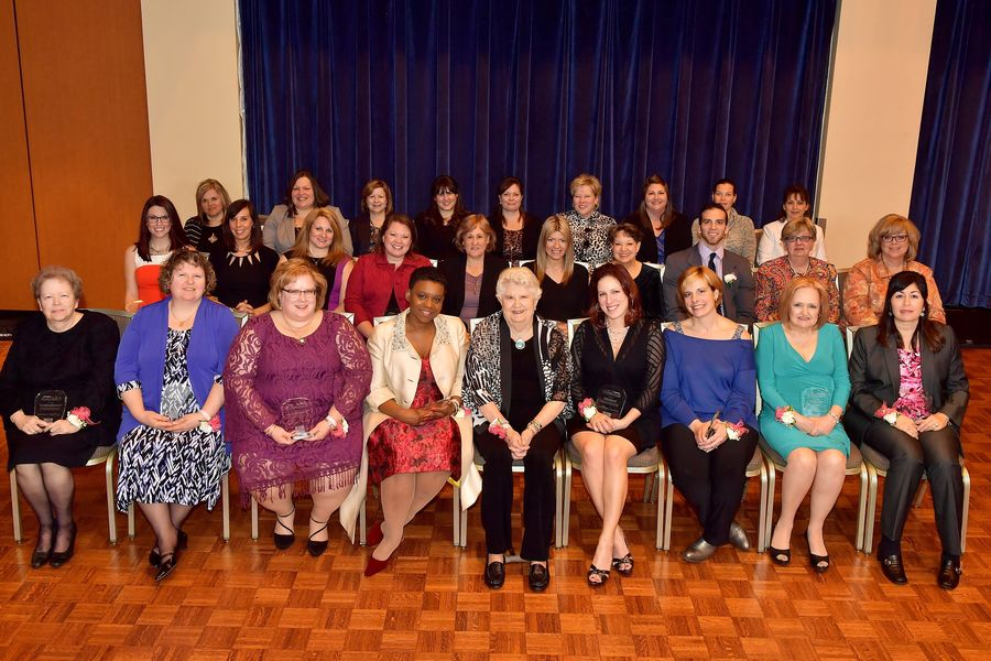 Barbara Donaho, front center, sits with the 2017 recipients of the Barbara Donaho Distinguished Leadership in Learning Award.